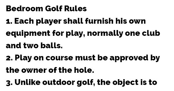 Bedroom Golf Rules Dirty Jokes Fantastic Jokes